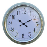Large 56cm Silver Rimmed Wall Clock - Green