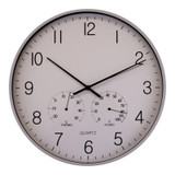 Large Grey Wall Clock With Thermometer/Hygrometer - 40cm