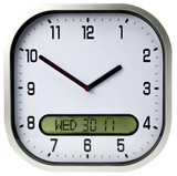 Time Day Date Wall Clock with Dual Digital & Analogue Display