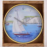 By The Seaside Wall Clock - Sail Boat at Dover by Finola Stack