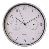 Grey Wall Clock With Thermometer & Hygrometer - 30cm