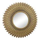 Stunning Large Gold Feather Mirror - 50cm