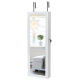 Wooden Jewellery Storage Mirrored Wall Cabinet - White