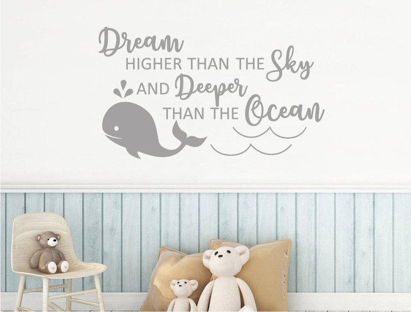 Dream Deeper Than The Ocean Whale Wall Sticker