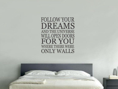Follow Your Dreams Wall Sticker   Inspirational Wall Quotes