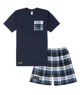 Flannel Sleep Shorts & Pocket Tee Set
