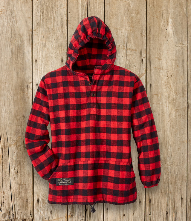 Youth Hooded Flannel Pullover - Red Buffalo