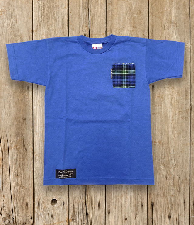 Youth Flannel Pocket Tee - Blue Grass