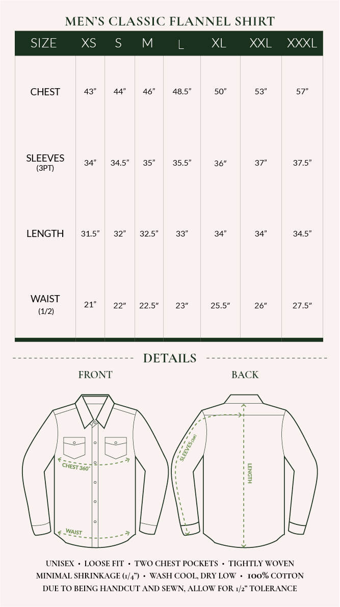 Men's Flannel Shirt Sizing Chart