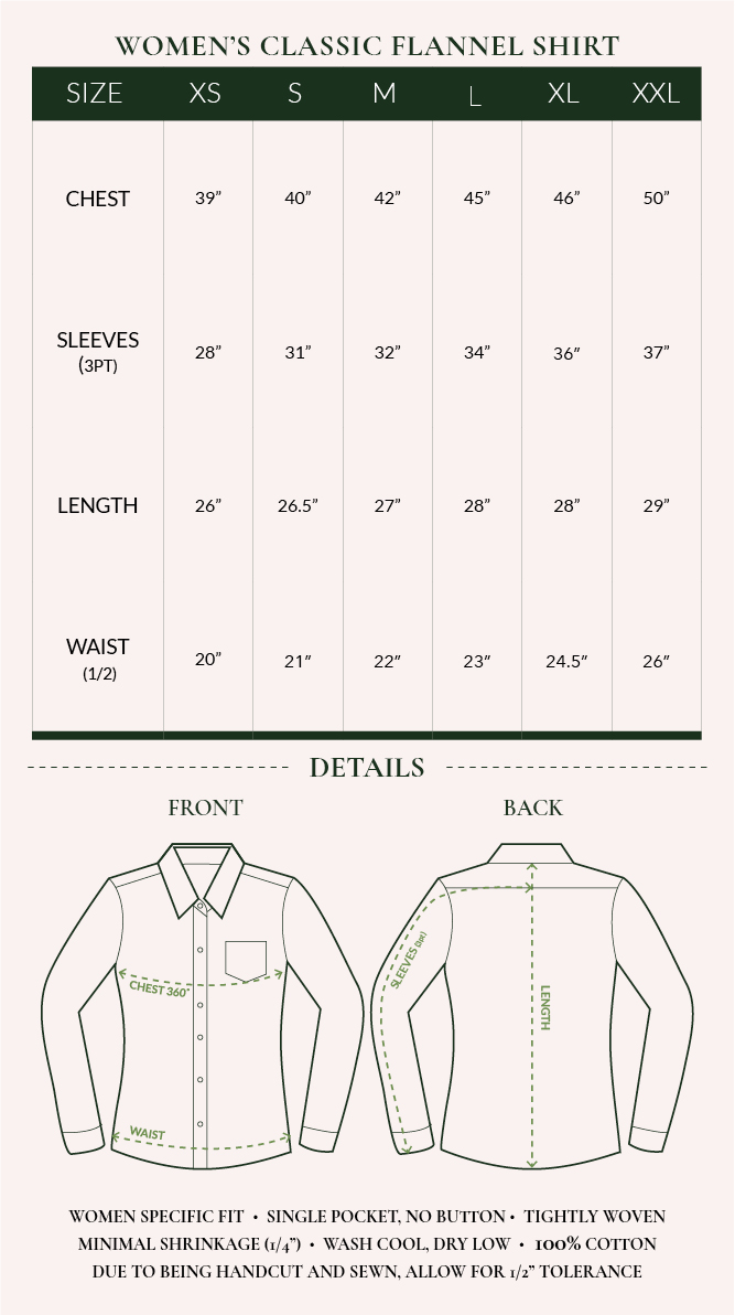 Women's Flannel Shirt Sizing Chart