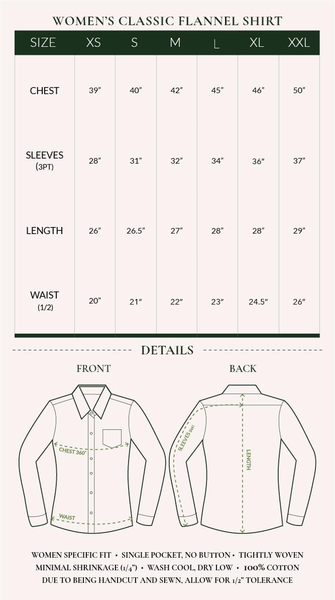 Women's Flannel Shirt Sizing Chart