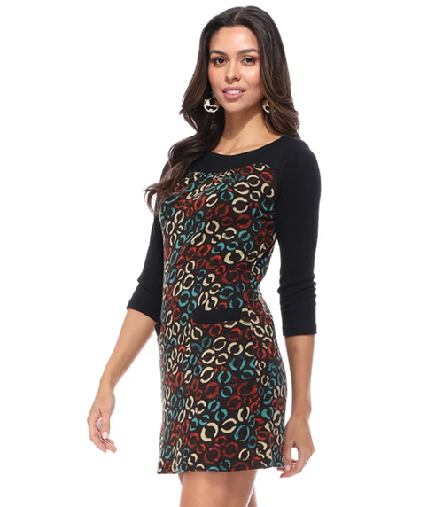 Aryeh Black & Teal Sweater Dress