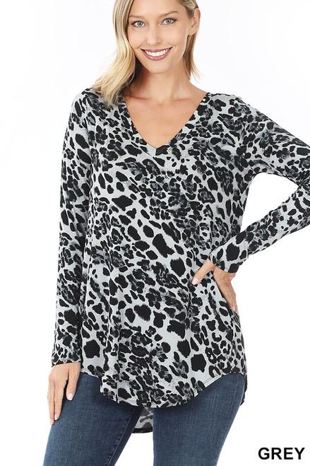Leopard Print V Neck Hi Low Hem - Black/ White