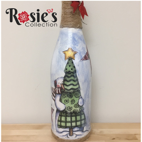 LED Wine Bottle Snowman with tree Table Decor 5