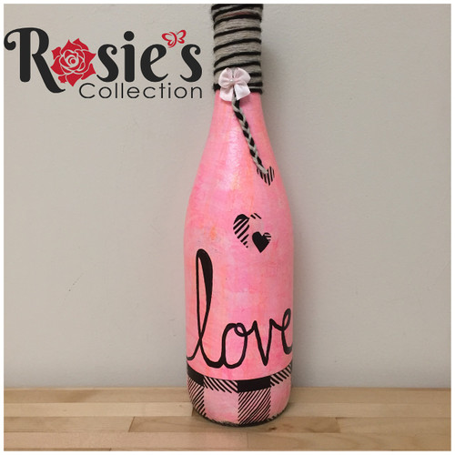LED Wine Pink bottle with Love Table Decor 7