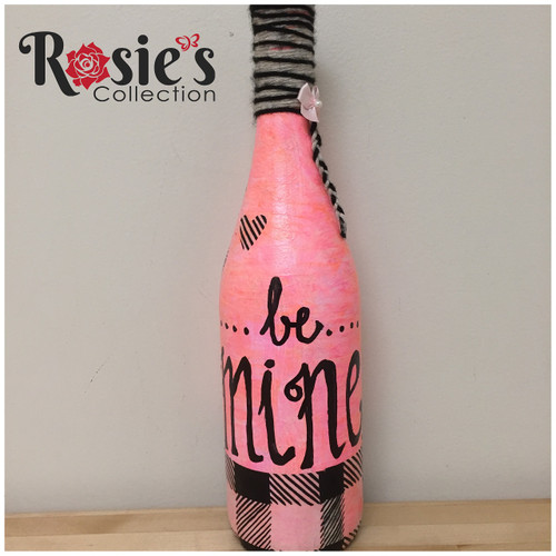 LED Wine Pink bottle with Be Mine Table Decor 8