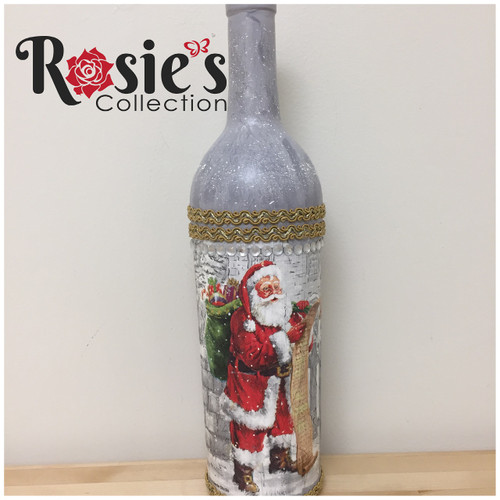 LED Wine Bottle with Santa Checking his list Table Decor 11