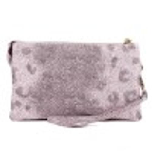 M013LP(GY/NUDE) Pebbled Glittery Leopard Clutch/Crossbody Bag
