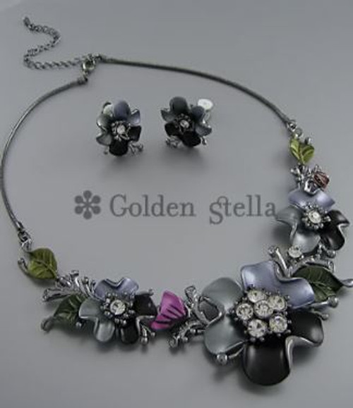 Golden Stella Jewelry NE56820-002 Epoxy & Crystal Flower Link Center Necklace Set