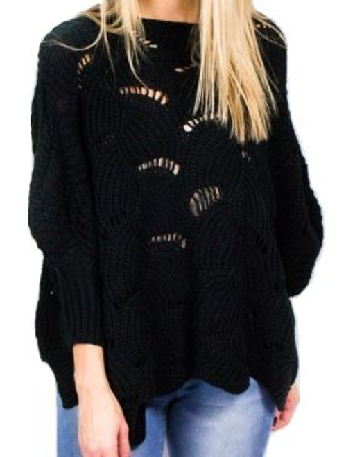 Crochet Poncho Top T7025 Black - OS
