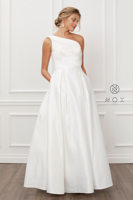 ELEGANT ONE SHOULDER ELEGANT SATIN A-LINE LONG
