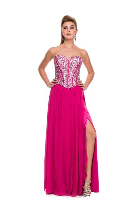Jewel Corset top, Side slit Long Beaded Dress_2593 Fushia Small