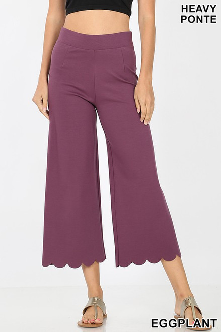 Heavy ponte high rise scallop crop pant 2463
