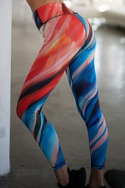 Yelete Athletic High Rise Watercolor Leggings