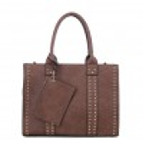 C4032L(BR) Studded Concealed & Carry Tote/Crossbody