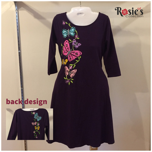 Apparel Designs by Bobbie Cropp - Butterflies of blue, purple and pink - Size Small