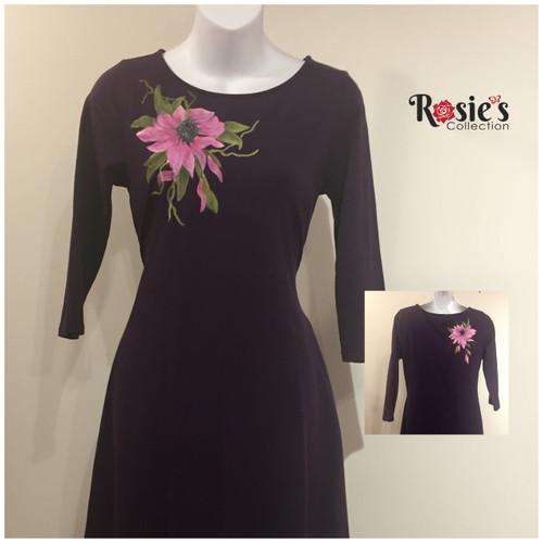 Apparel Designs by Bobbie Cropp - Large Pink Flower - Size Medium