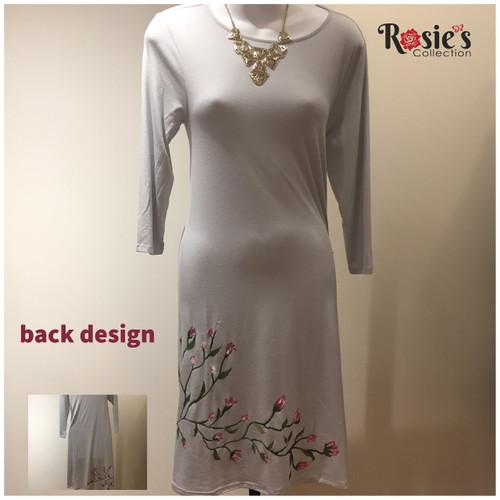 Apparel Designs by Bobbie Cropp - Bobbie Dress - Vine with pink flowers - Small