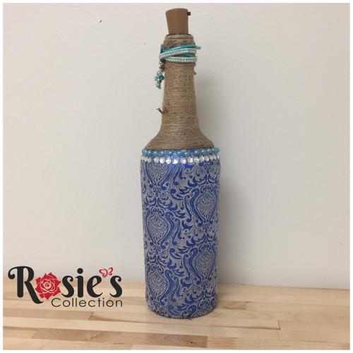 LED Blue Paisley Bottle Table Décor