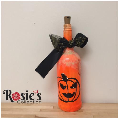 LED Pumpkin Bottle Bottle with Hat Table Décor