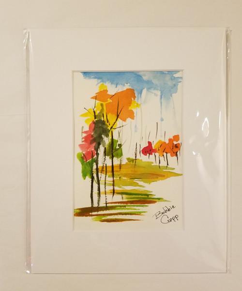 Bobbie Cropp Artwork - Autumn - 5x7 with 8x10 Mat