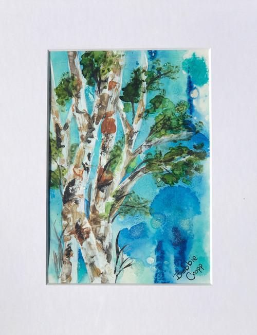 Bobbie Cropp Artwork - Birch Branches - 5x7 with 8x10 Mat