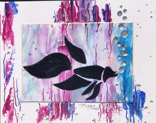 Bobbie Cropp Artwork - Blowing Bubbles - 5x7 with 8x10 Mat