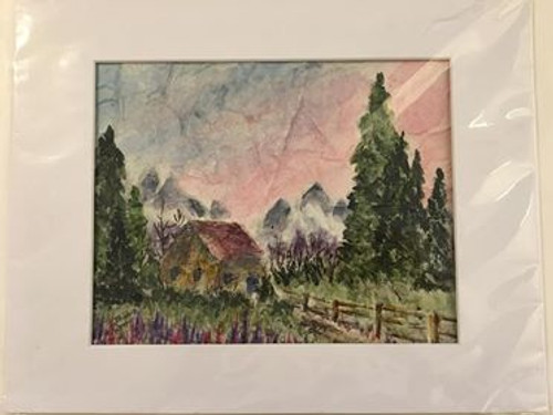 Bobbie Cropp Artwork 8x10 with 11x14 Mat Picture - Cabin in the Woods