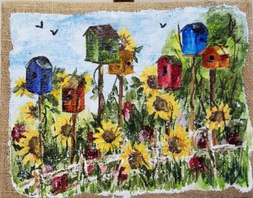 Bobbie Cropp Artwork - Hotel-Birds - Painted on Burlap