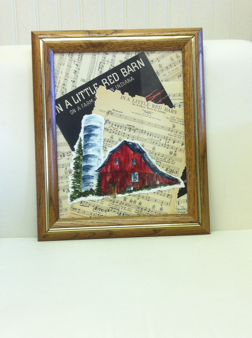 "Bobbie Cropp Artwork - ""In a little Red Barn"" Watercolor and Vintage Sheet Music"