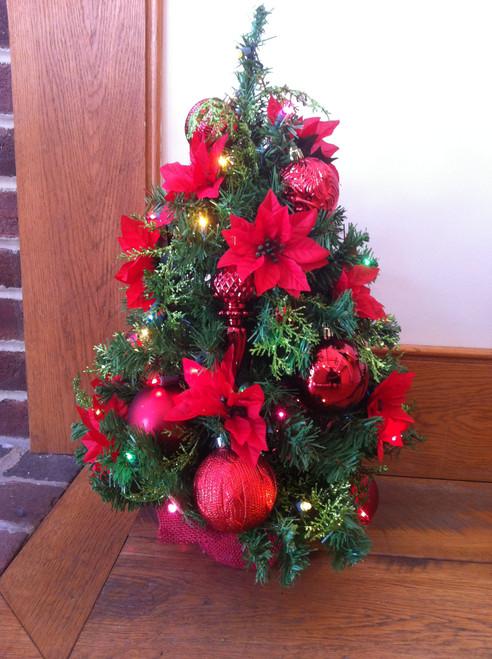 Bobbie Cropp Artwork -Poinsettia Tree with Red Balls