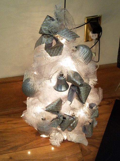 Bobbie Cropp Artwork - White Tree with Silver Ornaments