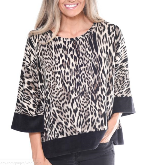 Trimmed Animal Print Top 95291-13