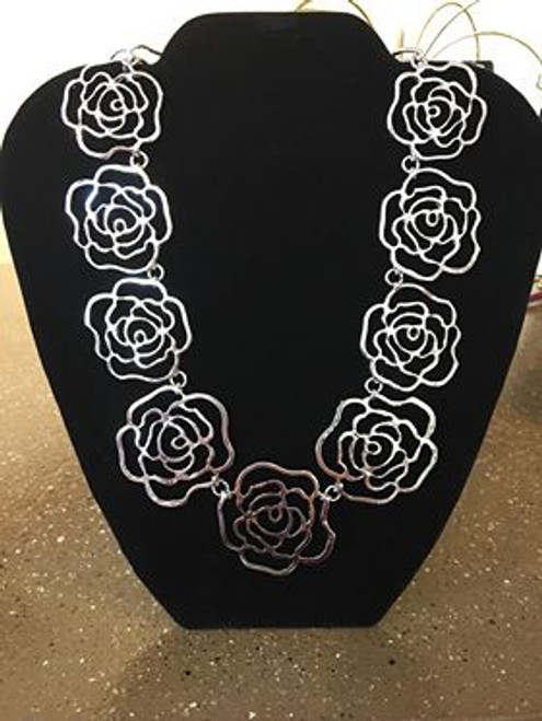 Designs by Liza Kim Silver Rose Necklace