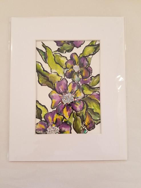 Bobbie Cropp Artwork - Bees Will Visit a Magic Winter - 5x7 with 8x10 Mat