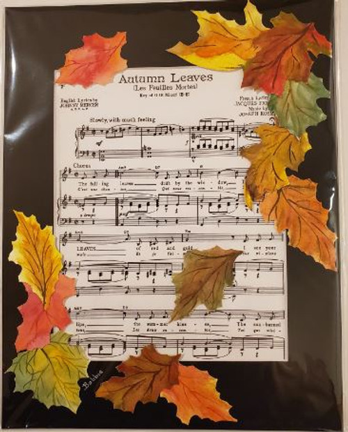 Bobbie Cropp Artwork - Autumn Leaves Sheet Music - 8x10 with 11x14 Mat