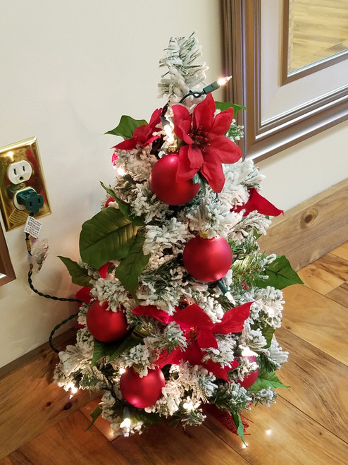 Bobbie Cropp Artwork - Lighted Poinsettia Tree with Flock and small red balls