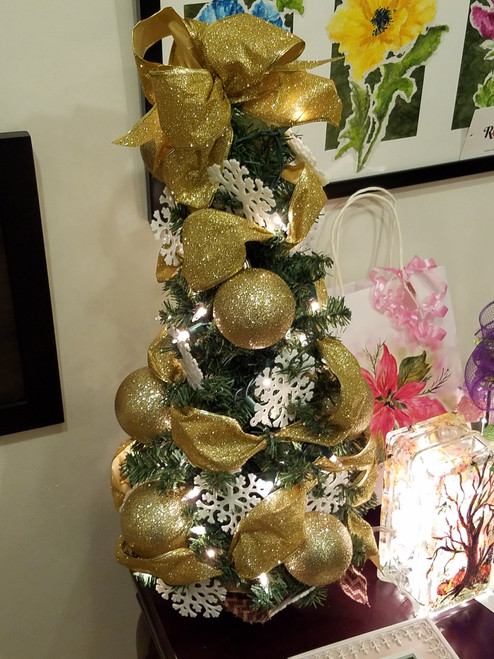 Bobbie Cropp Artwork - Lighted Gold Tree