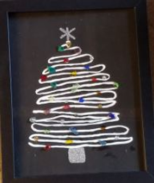Sea Glass Art by Marj - Christmas Tree with Black Background