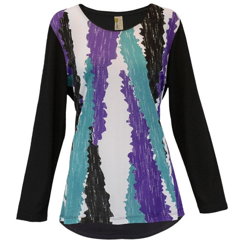 'ABSTRACT COLORS' LONG SLEEVE SWING TOP d881bkxxec